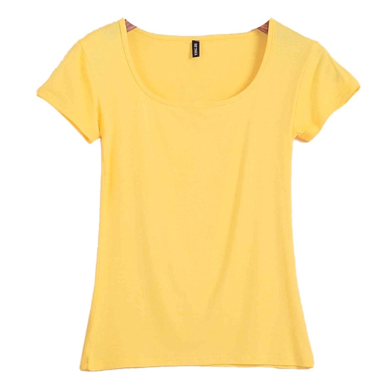 QIYUN.Z Frauen Normallack Des Sommers Kurze Huelse O Ausschnitt Schlanke Bodenbildung Shirt T-Shirt
