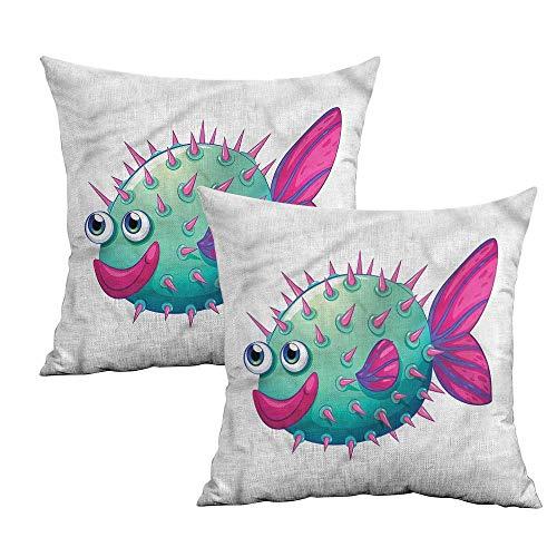 Khaki home Fish Square Custom Pillowcase Vibrant Color Bubble Fish Square Personalized Pillowcase Cushion Cases Pillowcases for Sofa Bedroom Car W 14