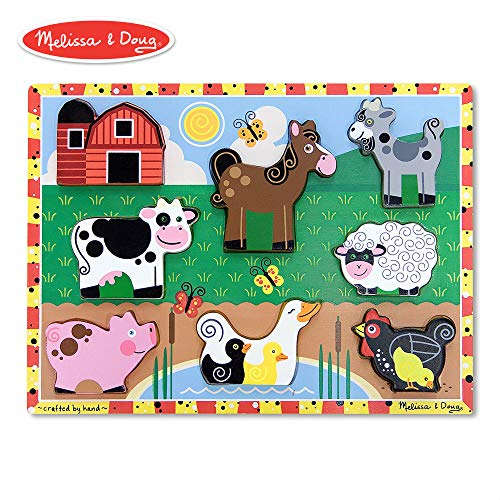 (Melissa & Doug Farm Chunky Puzzle (Preschool, Chunky Wooden Pieces, Full-Color Pictures, 8 Pieces))