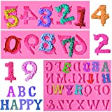 Amurgo 3 Pieces Number Letter Molds for Chocolate Fondant, Cake Decorating, Number 0-9 & Alphabet A-Z 3D Embossed Silicon Mold for Handmade Soap, Lollipop, Graduation Congrats Grad Party