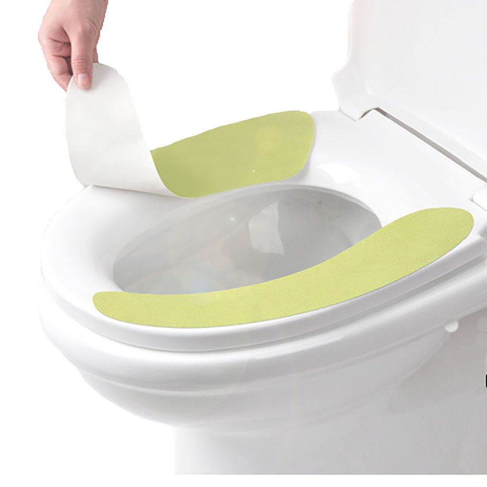 New 3 Colors Set Bathroom Warmer Washable Adhesive Cloth Sticky Toilet Seat Cover Pads lovely