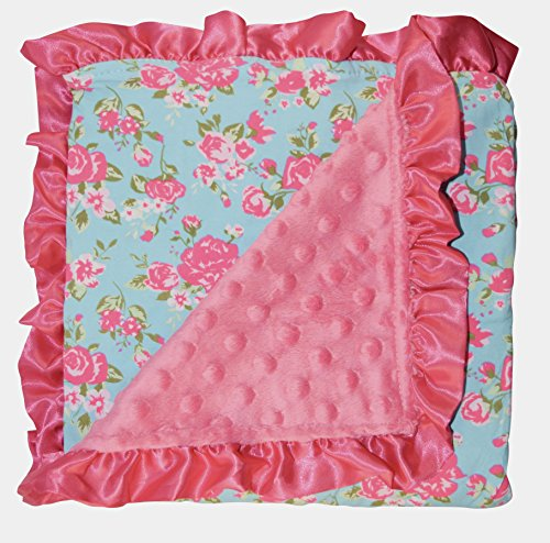 Unique Baby Soft Textured Minky Dot Blanket with Satin Trim, Vintage Floral Blue