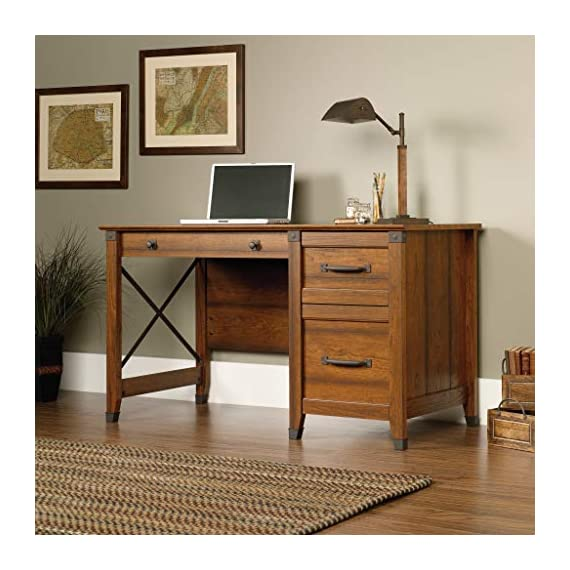 "Sauder Carson Forge Desk, Washington Cherry finish - Overall Dimensions: 53 1/4"" W x 22 5/8"" D x 29 3/4"" H Three drawers with metal runners and safety stops Lower drawer holds letter-size hanging files - writing-desks, living-room-furniture, living-room - 51PvkcZ5%2BQL. SS570  -"