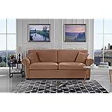 Classic Scroll Arm Brush Microfiber Living Room Sofa with Nailhead Trim (Brown)