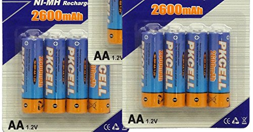 BlueDot Trading AA Rechargeable NiMH Batteries, 2600mAH/1.2V, 12 Count