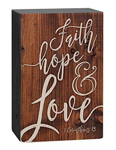 P. GRAHAM DUNN Faith Hope Love Script Design Brown 4 x 5 Inch Solid Pine Wood Barnhouse Block Sign