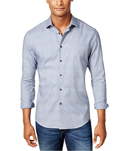 VINCE CAMUTO Mens Glen Plaid Sport Button Up Shirt, Blue, Large