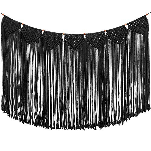 TIMEYARD Macrame Woven Wall Hanging Curtain Fringe Garland Banner - Boho Shabby Gothic Wall Decor - Apartment Dorm Living Room Bedroom Baby Nursery Art - Party Backdrop Decoration 47