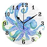 WXLIFE Ocean Sea Animal Octopus Round Acrylic Wall Clock, Silent Non Ticking Art Painting for Kids Bedroom Living Room Office School Home Decor