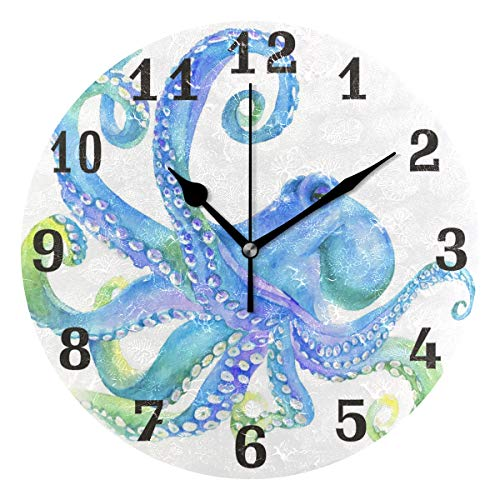 WXLIFE Ocean Sea Animal Octopus Round Acrylic Wall Clock, Silent Non Ticking Art Painting for Kids Bedroom Living Room Office School Home ()