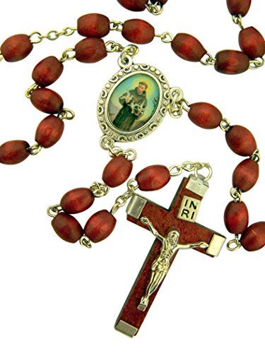 (DTC Brown Wood Prayer Bead Saint Francis of Assisi Rosary, 14 Inch)
