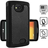 LG Optimus F60 Rugged Impact Heavy Duty Dual Layer Shock Proof Case Cover Skin - Black