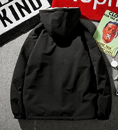 Pure Black Winter Zipper Mogogo Hooded Men's Thicken Pea Jacket Coat Colour qgFtfcv