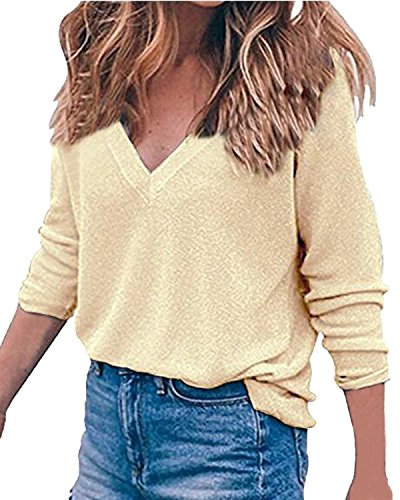 Auxo Women's V Neck Top Long Sleeve Shirt Blouses Oversized Sweater Pullover Jumper Beige US 12/Asian (L/s Pullover Sweater)