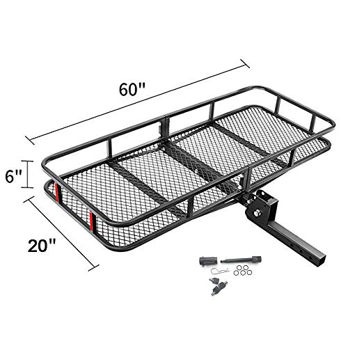AC-DK Folding Cargo Carrier Come with 5/8'' Hitch Lock Pin -Hitch Mount Cargo Basket-Luggage Rack - Dimension 60