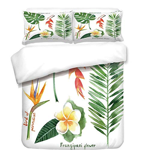 VAMIX 3Pcs Duvet Cover Set,Plant,Bird of Paradise Palm Leaf and Assorted Exotic Flowers Watercolor Decorative,Coral Earth Yellow Fern Green,Best Bedding Gifts for Family/Friends,