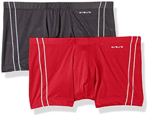 Lo Show No Trunk - 2(X)IST Evolve Men's Micro Mesh Comfort No Show Trunk Multipack Underwear, charcoal/Toreador, Large