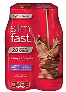 SlimFast Ready to Drink Bottles, High Protein Creamy Chocolate Meal Replacement Shake, 10-Ounces, 4 Count