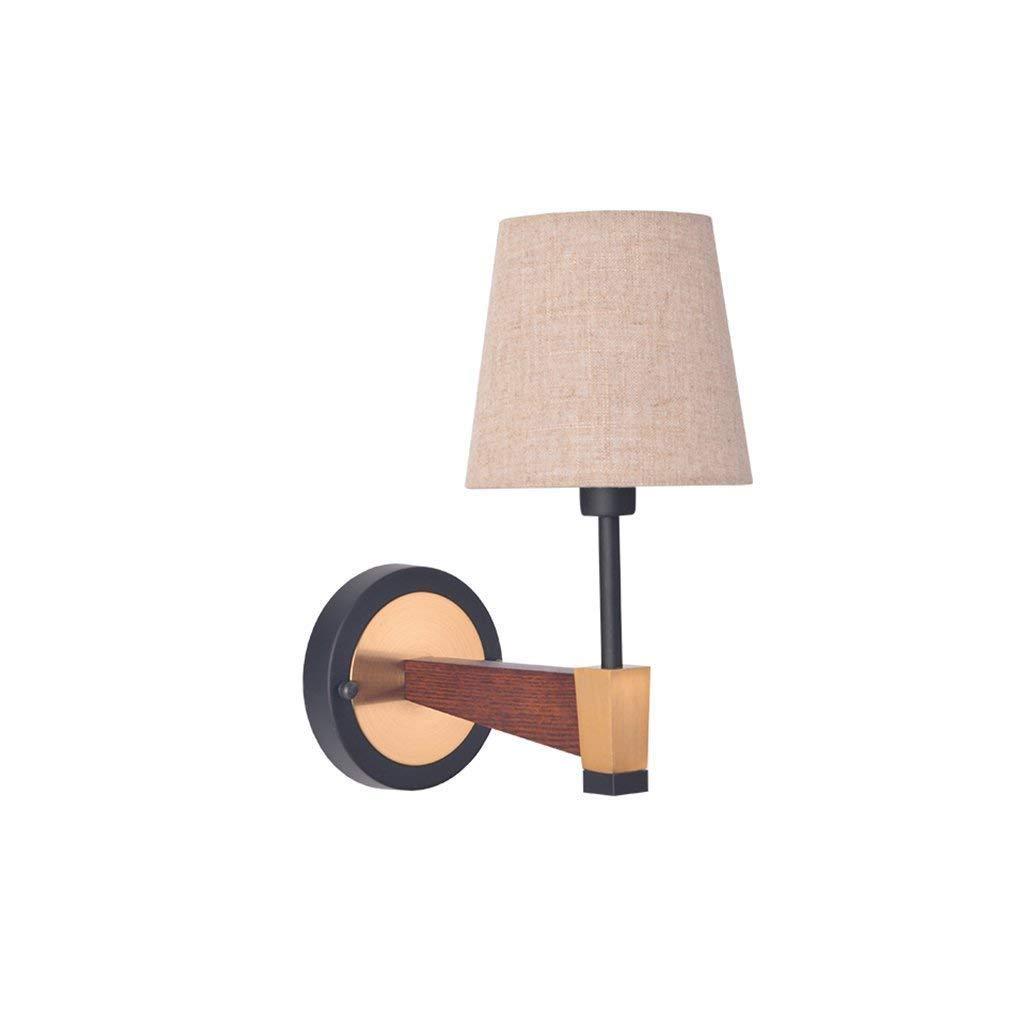 Wandleuchte-Wandleuchte Home Holz Spiegel Scheinwerfer Europäischen Single-Head weißes Tuch Schatten E14 LED-Wandleuchte Willkommen (Farbe  Jute Farbe-eine-Kopf)