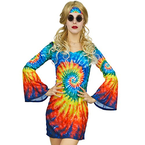 Womens Shimmy Hippie Costume 60s 70s Flower Power (S) -
