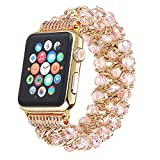 BASETOBUY Compatible with Apple Watch Band 38mm 42mm,Elastic Handmade Crystal Bracelet Jewelry Replacement Strap Women Girl for iWatch Apple Watch Series 3/2/1 (Pink-42mm)