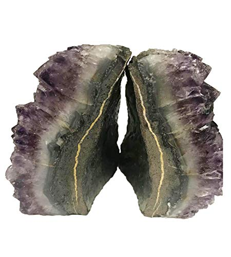 AMOYSTONE Amethyst Bookends Cut Cluster Polished for Office and Home Decorative 1 Pair with Rubber Bumpers 4 to 6 lbs ()