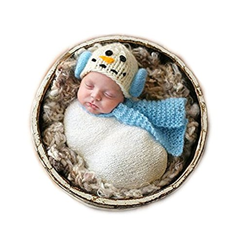[Fashion Unisex Newborn Girl Boy Baby Outfits Photography Props Snowman Hat Scarf (Blue)] (Snowman Costume Hat)