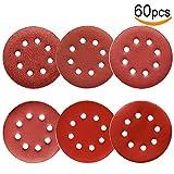 60Pcs Sanding Discs 5 Inch 8 Holes, 1000/800/600/400/320/240 Grit Sandpaper for Random Orbital Sander by V-story