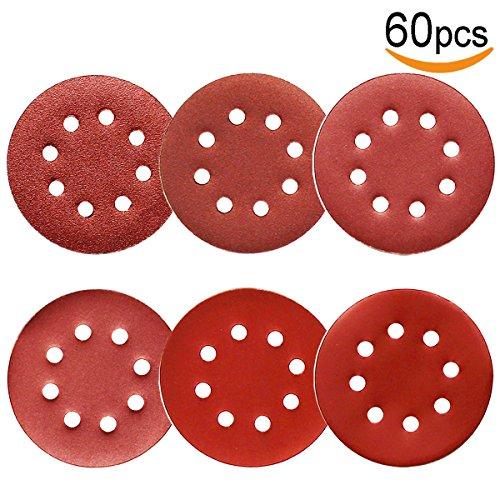 (60Pcs Sanding Discs 5 Inch 8 Holes, 1000/800/600/400/320/240 Grit Sandpaper for Random Orbital Sander by V-story)