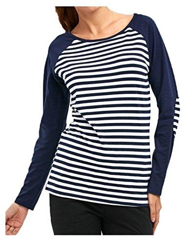 ICOCOPRO Women's Cotton Long Sleeve Elbow Patch Raglan Striped Blouse T-Shirt Tops - XLarge