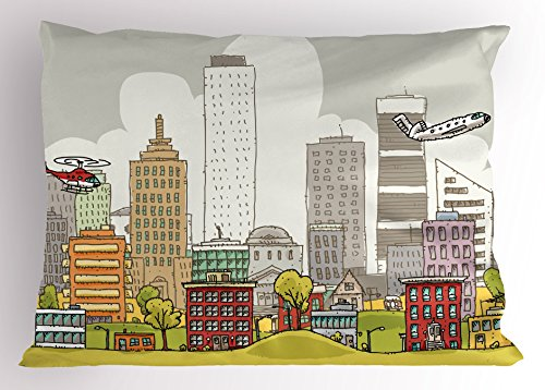 - Ambesonne Modern Pillow Sham, Cartoon Busy Urban Scene with Skyscrapers Airplanes Apartments Downtown Illustration, Decorative Standard Queen Size Printed Pillowcase, 30