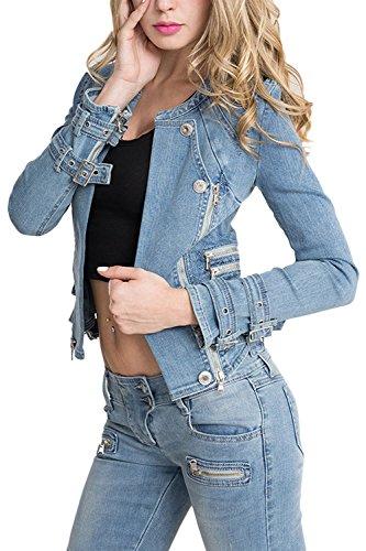 Giacca Blu Lunghe Maniche A Fanvans Jeans Giacche Donna Delle Di Breve Tagliata P5q11HaxWw
