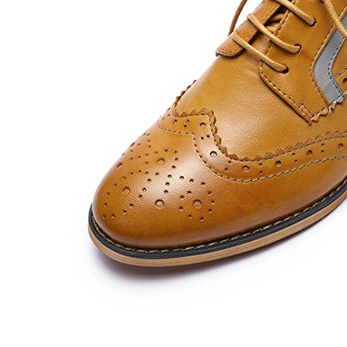Pictures of Mona Flying Women's Leather Perforated Lace-up Oxfords Shoes for Women Wingtip Multicolor Brougue Shoes 5