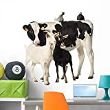 Wallmonkeys Calf with Goats and Wall Decal Peel and Stick Animal Graphics (36 in W x 28 in H) WM381971