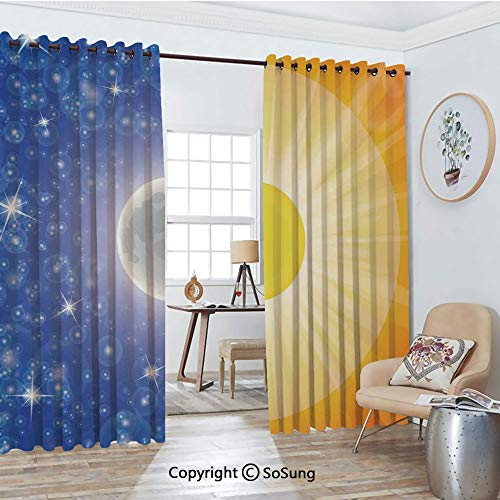 Thermal Insulated Blackout Patio Door Drapery,Split Design with Stars in The Sky and Sun Beams Light Solar Balance Image Room Divider Curtains,2 Panel Set,100