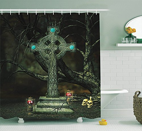 Gothic Decor Collection Gothic Cross Tree Grave Skulls Tombstone Lanterns Graveyard Night Art Polyester Fabric Bathroom Shower Curtain Set with Hooks Blue (Cute Halloween Tombstone Sayings)