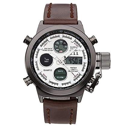 Yogasada Banda de Cuero Hombres Reloj Digital Informal dial Redondo Calendario Regalo del Reloj de Pulsera