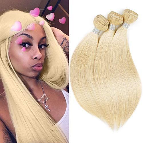 613 Brazilian Blonde Hair 3 Bundles Silky Straight Hair Weave Bundles 7A Blonde Hair Weft Human Hair Extensions (14 14 14inch)