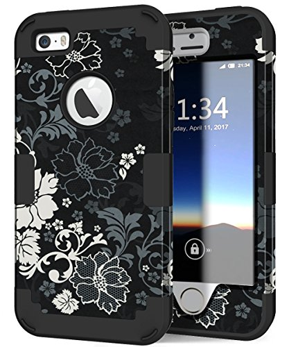 iPhone 5s Case, iPhone SE Case, Hocase Heavy Duty Shockproof Protection Hard Plastic+Silicone Rubber Bumper Dual Layer Full-Body Protective Phone Case for iPhone SE/5s/5 - Classic Black/White Flowers