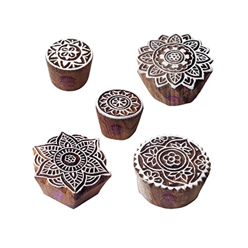 Stylish Designs Mandala and Round Wooden Block Stamps (Set of 5) ()