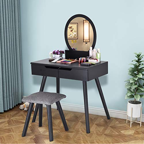 Maikouhai Vanity Table Beauty Dressing Makeup Table 1 Round Mirrors and 2 Large Sliding Organization Drawers Set for Jewelry, Cosmetics with 1 Wooden Cushioned Stool, 31.9x16.14 x50.78'' (Black)