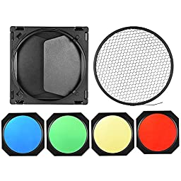 """Andoer Mount Barn Door Kit with 4 Color Gel Filters (Red/Green/Blue/Yellow) & 60 Degree Honeycomb Grid for 7"""" Standard Reflector Diffuser Lamp Shade Dish"""