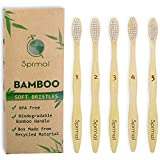 Bamboo Toothbrush 5pcs 100% Natural Organic Biodegradable and Vegan Bamboo Eco-Friendly Soft Nylon Bristles for Sensitive Gums BPA Free (white bristle)