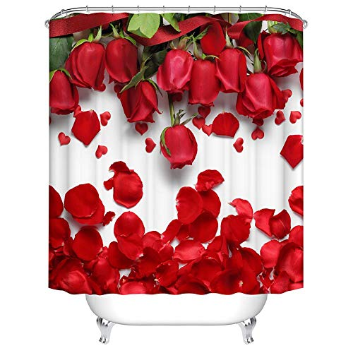 (Boyouth Scattered Roses Pattern Digital Print Bath Shower Curtains for Bathroom,Polyester Waterproof Fabric Bath Curtain with 12 Hooks,35x70 Inches,Multicolor)
