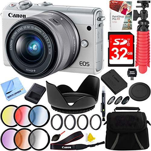 Canon EOS M100 24.2MP Mirrorless Camera with EF-M 15-45mm is STM Lens (White) and 49mm Filter Sets Plus 32GB Accessories Bundle