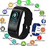 Fitness Trackers LIGE Waterproof Sports Smart Bracelet Pedometer Heart rate Sleep monitor for Men Women Kids,Black Activity tracker for Android Ios +Blue Band Gift