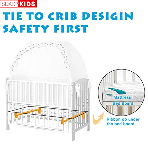 SDADI Baby Crib Safety Tent Pop Up Mosquito Net with Baby Monitor Hang Ribbon,Toddler Bed Canopy Netting Cover |Dots WLCN01D by SDADI (Image #2)