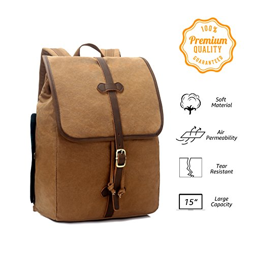 EverVanz Canvas Leather Casual Daypacks, Tear Resistant Travel Rucksack, Outdoor Sports Backpack, College Bookbag for Girls/Boys