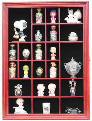 Small Wall Curio Cabinet / Miniature Thimble Display Case Shadow Box Frame, with REAL glass door-CHERRY Finish (Small Miniature Cabinet)
