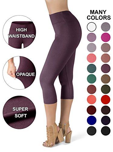 (SATINA High Waisted Super Soft Capri Leggings - 20 Colors - Reg & Plus Size (Plus Size, Vintage Violet))